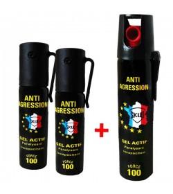 Lot GEL lacrymogène - 3 X bombes lacrymogene