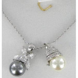 Deux pendentifs perles et cristal Swarovski