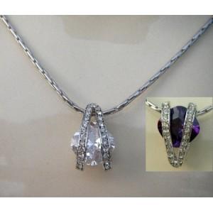 Collier cristal Swarovski mauve ou blanc
