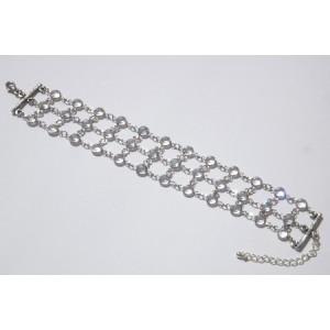 Bracelet 3 rangs rhodié cristal Swarovski blanc