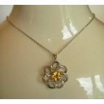 Pendentif argent fleur cristal Swarovski