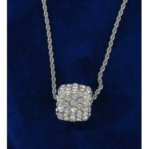 Pendentif manchon rhodié cristal Swarovski