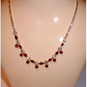 Collier rubis et cristal Swarovski