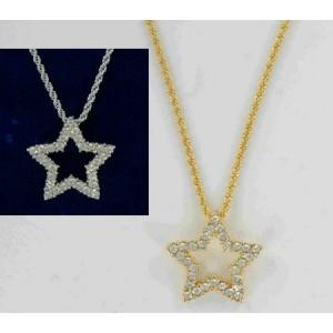 Pendentif étoile cristal Swarovski or ou argent