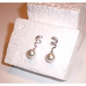 Swarovski boucles d'oreilles perles blanches