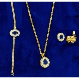 Parure or 24 carats & cristal Swarovski