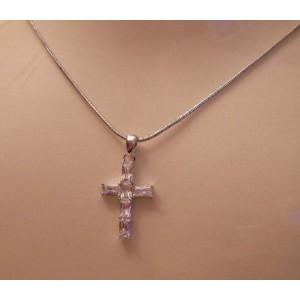 Pendentif croix fine cristal Swarovski argent
